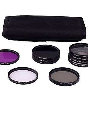58 milímetros 10peças UV kit de filtro FLD CPL ND2/4/8 para Canon Rebel T3i T4i T3 T2 T2i T1i XS XTi 550D 600D 1100D