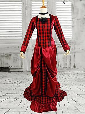 Jednodílné/Šaty Klasická a tradiční lolita Viktoria Tarzı Cosplay Lolita šaty Červená Jednobarevné Dlouhé rukávy Long Length Šaty Pro