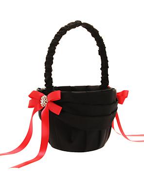 cesta de flores em cetim preto com curvas do vermelho e de poliéster preto cesta de flores bandagem menina