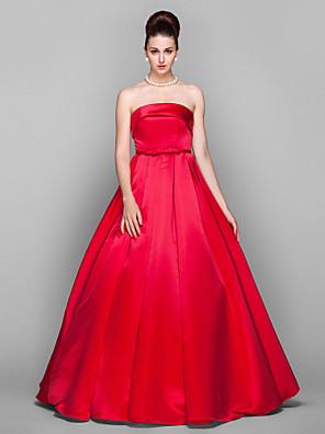 Promoce / Formální večer / Vojenský ples / Velká večerní Šaty - Elegantní / Retro inspirované Plesové šaty Bez ramínek Na zem Satén s
