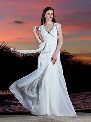 Lanting Bride® מעטפת \ עמוד קטן / מידה גדולה שמלת כלה - קלסי ונצחי קו תחתון פשוט עד הריצפה צווארון וי ג'ורג'ט עם