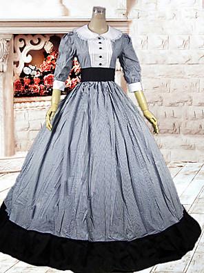 /שמלותחתיכה אחת לוליטה קלאסית ומסורתית לוליטה Cosplay שמלות לוליטה אפור טלאים 3/4-אורך שרוול ארוך שמלה ל נשים כותנה