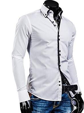 Effen-Informeel / Werk / Formeel-Heren-Katoen-Overhemd-Lange mouw-Zwart / Blauw / Groen / Paars / Rood / Wit