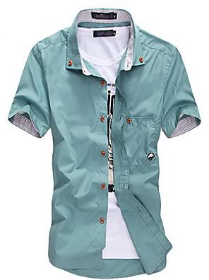 Camicia Uomo Casual Tinta unita Misto cotone Manica corta Nero / Blu / Verde / Rosso / Bianco / Beige