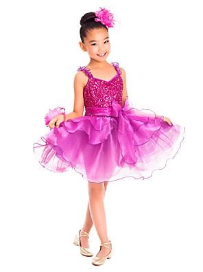 בגדי ריקוד לילדים שמלות בגדי ריקוד ילדים אימון ספנדקס קפלים / נצנצים בלי שרוולים טבעי