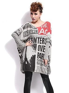 qlzw®women je tisk volný úplet svetr