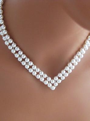 shixin® vintage v form bryllup hvid perlekæde (1 stk)