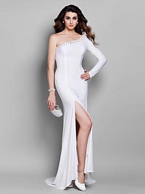 Kolacja oficjalna Sukienka - Eleganckie Syrena Jedno ramiączko Tren w stylu sądowym Dżersej z Koraliki