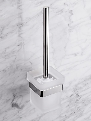 Contemporary Quadrate Stainless Steel Toilet Brush Holder