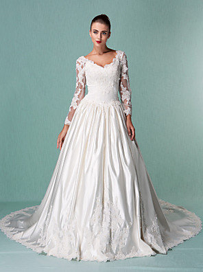 Lanting Bride Ball Gown Petite / Plus Sizes Wedding Dress-Chapel Train V-neck Satin / Tulle