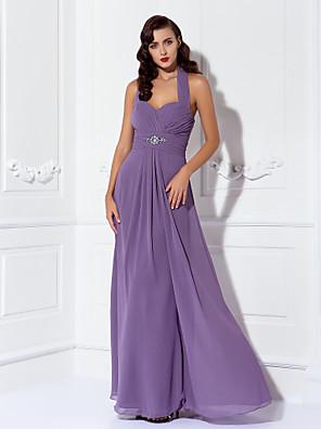 Lanting Bride® Longo Chiffon Vestido de Madrinha - Tubinho Nadador Tamanhos Grandes / Mignon com Miçangas / Pregueado / Cruzado / Franzido