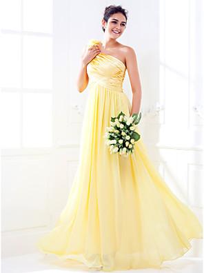 Lanting Bride® עד הריצפה סאטן נמתח / ג'ורג'ט שמלה לשושבינה  גזרת A כתפיה אחת פלאס סייז (מידה גדולה) / פטיט עםפרח(ים) / בד נשפך בצד /