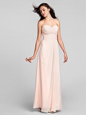 Lanting Bride® Longo Chiffon Vestido de Madrinha Tubinho Coração Tamanhos Grandes / Mignon com Cruzado / Franzido