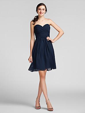Lanting Bride® באורך  הברך שיפון שמלה לשושבינה - מעטפת \ עמוד מחשוף לב פלאס סייז (מידה גדולה) / פטיט עם תד נשפך / בד בהצלבה