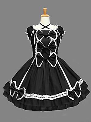Sleeveless Knee-length Black Cotton Aristocrat Lolita Dress