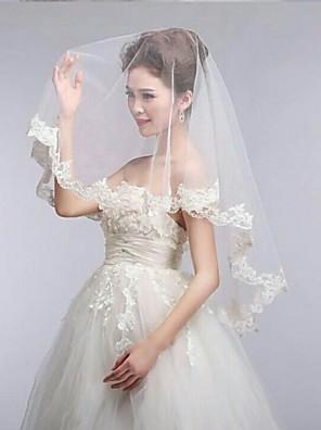 Véus de Noiva Uma Camada Véu Cotovelo Borda com aplicação de Renda / Borda Recortada 55,12 in (140cm) Tule / Renda