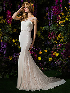 Lanting Bride® Sereia Pequeno Vestido de Noiva Cauda Capela Decote em U Renda / Georgette com