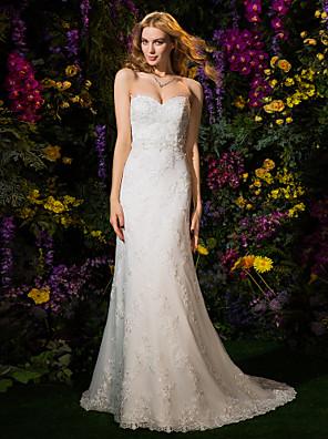 Lanting Bride® גזרת A / נסיכה קטן שמלת כלה  שמלות חתונה צבעוניות שובל קורט מחשוף לב תחרה / טול עם