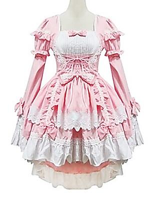 Uma-Peça/Vestidos / Ternos de Empregadas Doce Princesa Cosplay Vestidos Lolita Branco / Rosa Miscelânea Manga Comprida Lolita Vestido Para