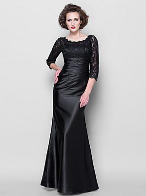 Lanting Bride® Mořská panna Větší velikosti / Malé Šaty pro matku nevěsty - Průsvitný Na zem 3/4 délka rukávu Krajka / Elastický satén -