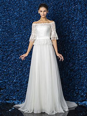 Lanting Bride® Linha A / Princesa Pequeno / Tamanhos Grandes Vestido de Noiva - Elegante e Luxuoso / Glamouroso e Dramático Renda Floral