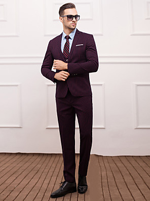 חליפות גזרה צרה פתוח צר Single Breasted One-button 3 חלקים אדום / כחול נייבי כהה דש ישר