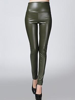 sagetech @ elásticos embutidos calças de veludo couro das mulheres (mais cores)