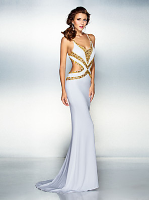 Formeller Abend Kleid - Schöner Rücken Trompete / Meerjungfrau V-Ausschnitt Pinsel Schleppe Jersey mit Perlstickerei / Kristall Verzierung