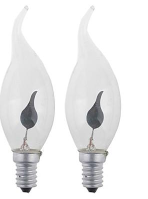 3W E14 LED gyertyaizzók 1 Nagyteljesítményű LED 400LM lm Természetes fehér AC 100-240 / AC 220-240 V 2 db.