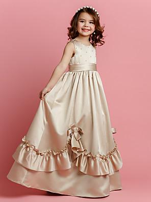 Lanting Bride A-line Floor-length Flower Girl Dress - Satin Sleeveless Jewel with Beading / Bow(s) / Sash / Ribbon