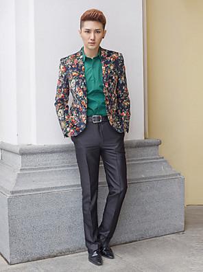černá&vícebarevné vzory slim fit smoking z polyesteru