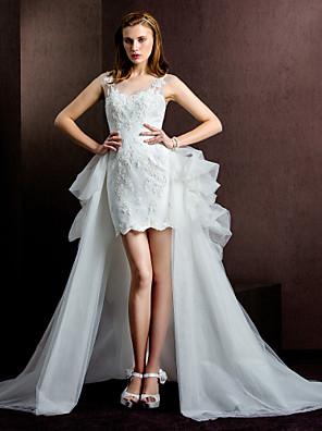 Lanting Bride® Tubinho Vestido de Noiva Vestidos de Casamento Dois-em-Um Curto / Mini Decote em U Tule com
