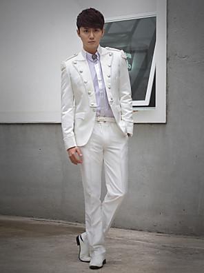 bílá obruba slim fit smoking z polyesteru