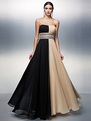 TS Couture® Formal Evening Dress Plus Size / Petite A-line Strapless Floor-length Chiffon with Beading / Sash / Ribbon / Sequins