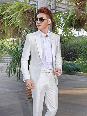 bílý vyšívaný slim fit smoking z polyesteru