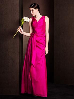 Lanting Bride® Longo Tafetá Vestido de Madrinha - Tubinho Decote V Tamanhos Grandes / Mignon com Laço(s) / Cruzado