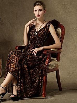 v krku módní neformální tiskové dámské šaty