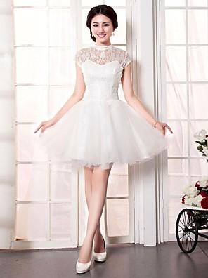 גזרת A שמלת כלה  קצר \ מיני צווארון גבוה תחרה / טול עם