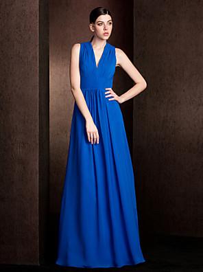 Lanting Bride® Na zem Šifón Šaty pro družičky A-Linie / Princess Do V Větší velikosti / Malé s Nabírání / Šerpa / Stuha