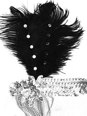 כיסוי ראש פסטיבל/חג תחפושות ליל כל הקדושים כסף / שחור כיסוי ראש קרנבל נקבה נוצה