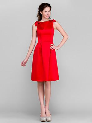 Lanting Bride® באורך  הברך סאטן שמלה לשושבינה - גזרת A סירה פלאס סייז (מידה גדולה) / פטיט עם פפיון(ים)