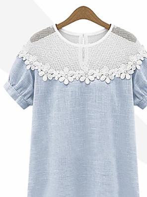 Mulheres Camiseta Casual Simples Verão Azul / Cinza Manga Curta Fina