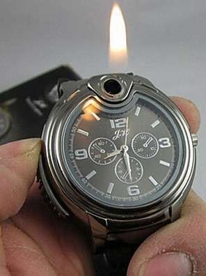 Men's Watch Cool 2-in-1 Quartz Watch + Butane Flame Lighter (Assorted Colors) Wrist Watch Cool Watch Unique Watch Fashion Watch