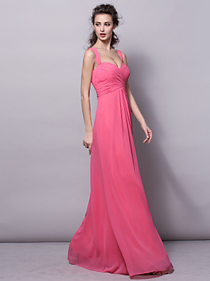 Lanting Bride® Na zem Šifón Šaty pro družičky Pouzdrové Popruhy Větší velikosti / Malé s Nabírání / Křížení / Sklady
