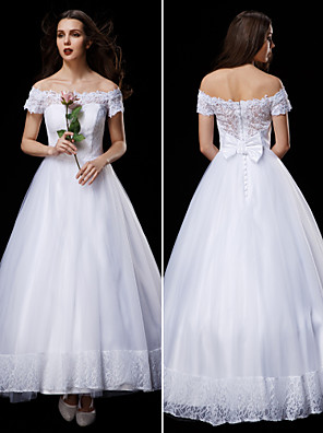 Lanting Bride A-line / Princess Petite / Plus Sizes Wedding Dress-Ankle-length Off-the-shoulder Lace / Tulle