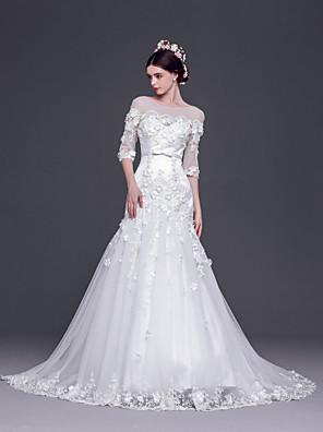 A-라인 / 공주 웨딩 드레스 스윕 / 브러쉬 트레인 보트넥 튤 와