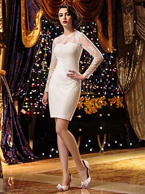 Lanting Bride® Tubinho Pequeno / Tamanhos Grandes Vestido de Noiva Curto / Mini Decorado com Bijuteria Renda com