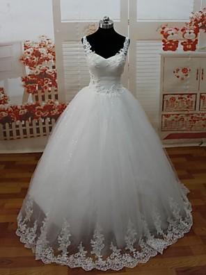 A-라인 퍼티트 웨딩 드레스 오픈백 바닥 길이 스파게티 스트랩 레이스 / 튤 와