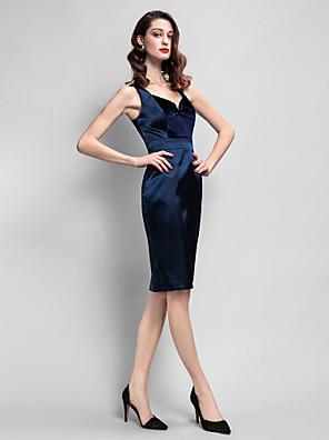 Cocktailparty Kleid Eng anliegend Riemchen Knie-Länge Samt / Stretch - Satin mit Taschen