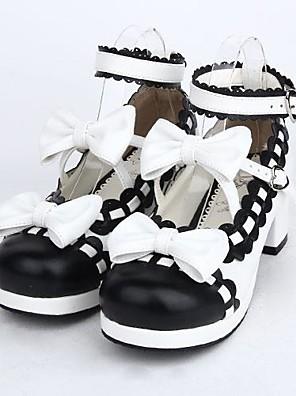נעליים לוליטה מתוקה לוליטה עקב גבוה נעליים סרט פרפר 4.5 CM Black ל נשים עור פוליאוריתן